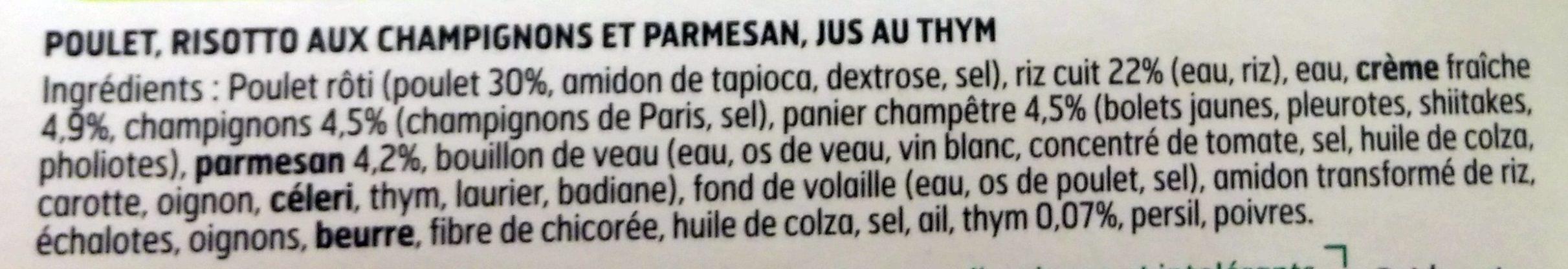 Poulet jus au thym, risotto champignons et parmesan - Ingrédients - fr