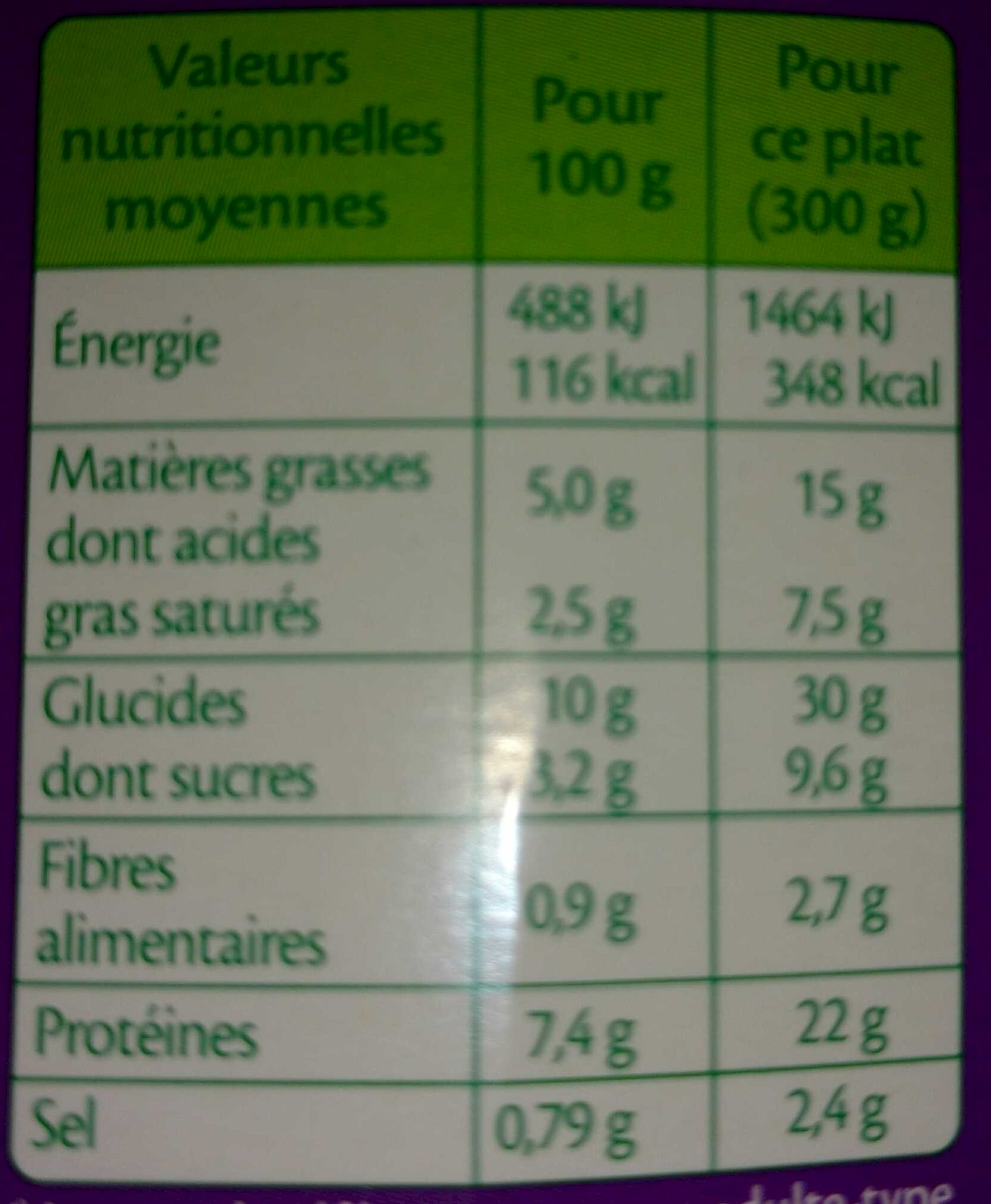 - Informations nutritionnelles