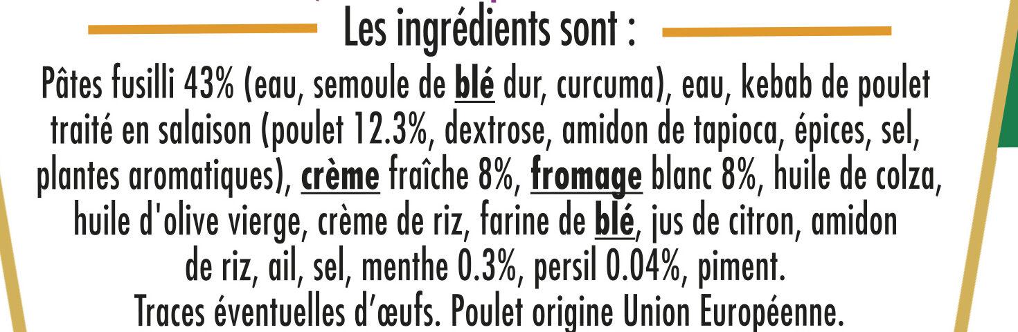 BOX KEBAB de POULET (fusilli kebab de poulet & sauce blanche) - Ingrédients - fr