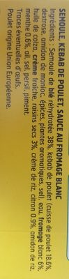 Kebab de poulet & semoule - Ingredients