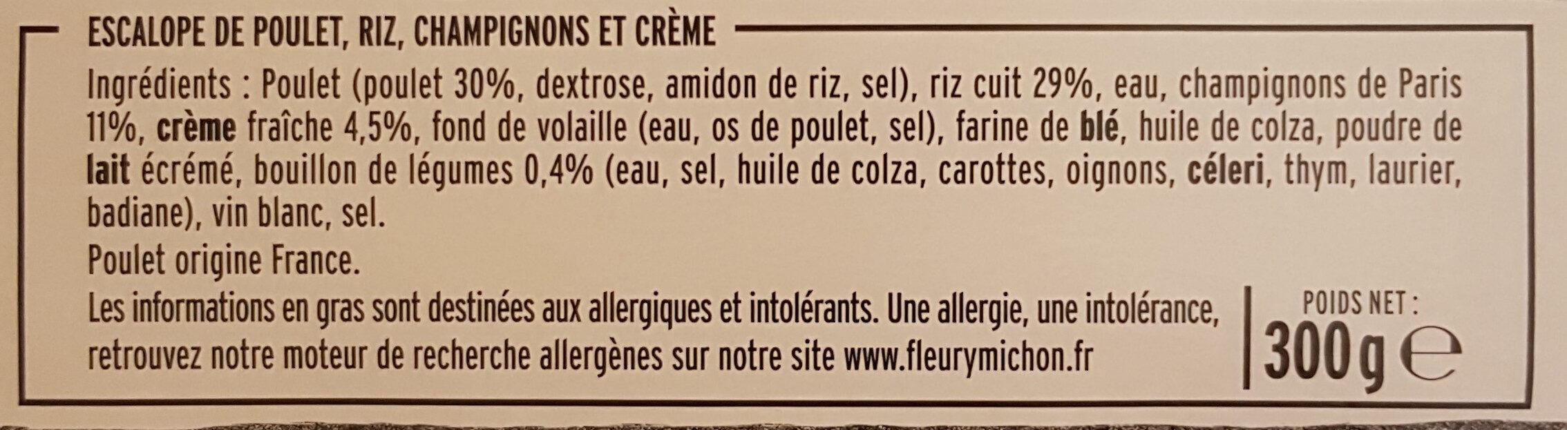 L'Escalope de Poulet à la Crème, Champignons et Riz - Ingrédients - fr