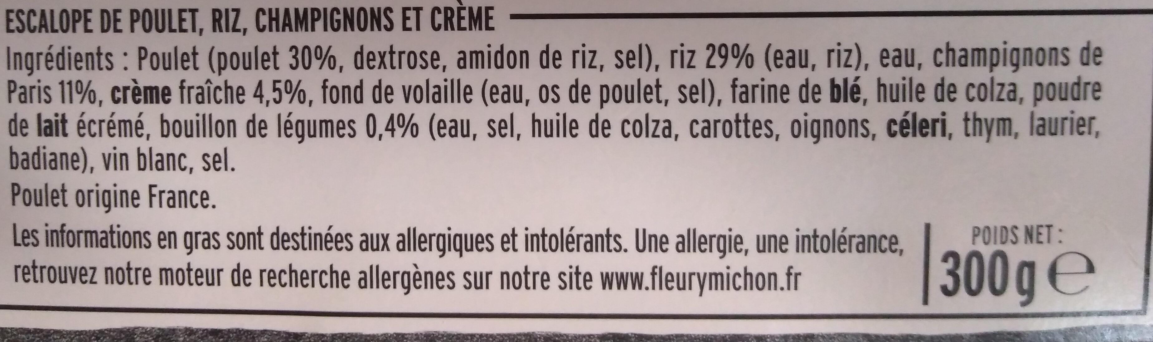 Escalope de Poulet à la Crème, Champignons et Riz - Ingredients