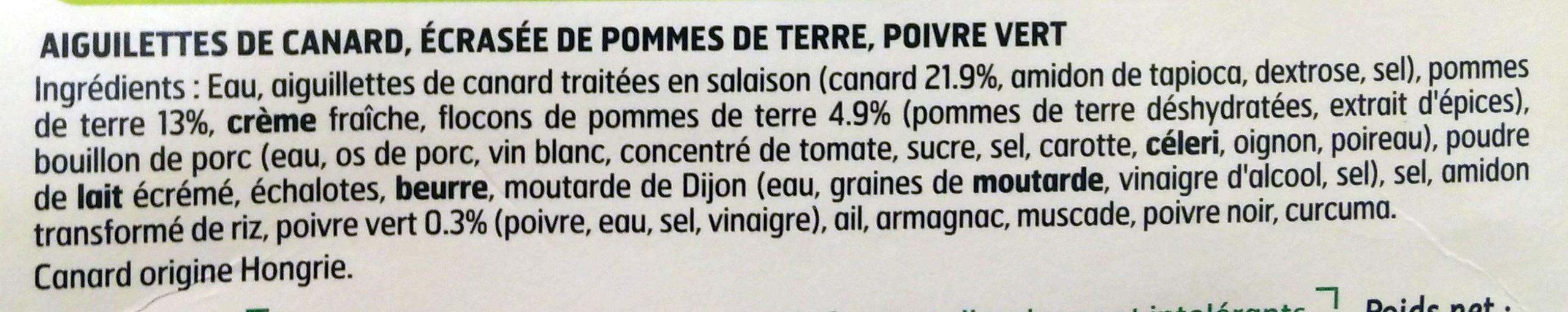 Aiguillettes de canard au poivre vert écrasée de pommes de terre - Ingrédients - fr
