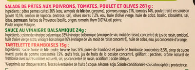 Salad' sur le pouce Pâtes Penne et Poulet au Thym + Mini tartelette aux Framboises - Ingrédients