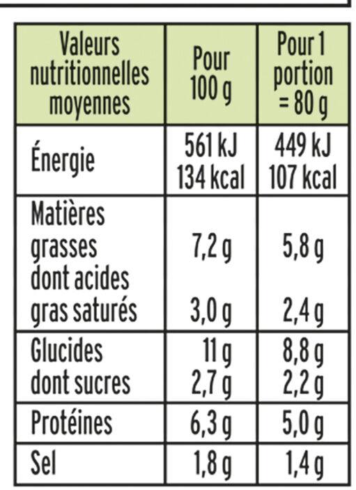 Le Coeur Frais Ail et Fines herbes - 14 bâtonnets - Voedingswaarden - fr