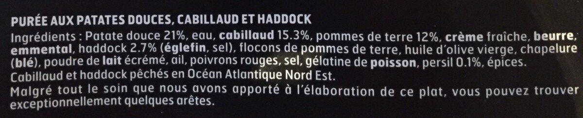 Le parmentier de cabillaud et haddock et purée de patates douces - Ingrediënten - fr