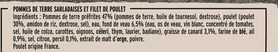 Filet de Poulet Pommes de Terre à la Sarladaise - Inhaltsstoffe - fr