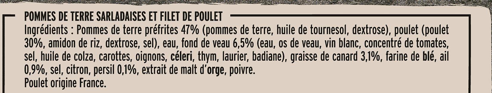 Filet de Poulet Pommes de Terre à la Sarladaise - Ingrediënten - fr