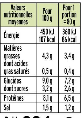 Le bâtonnet Moelleux sans gluten - 24 bâtonnets - Nutrition facts - fr