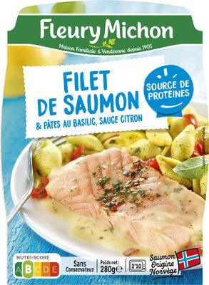 Filet de saumon & pâtes au basilic, sauce citron - Product - fr