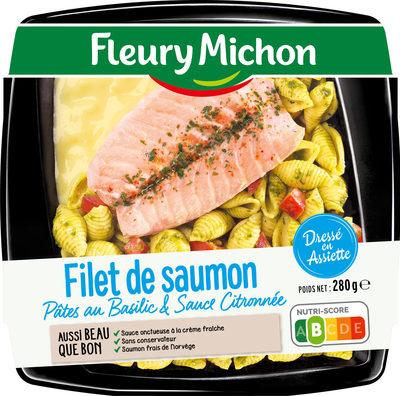 Filet de saumon pâtes au basilic & sauce citronnée - Produit