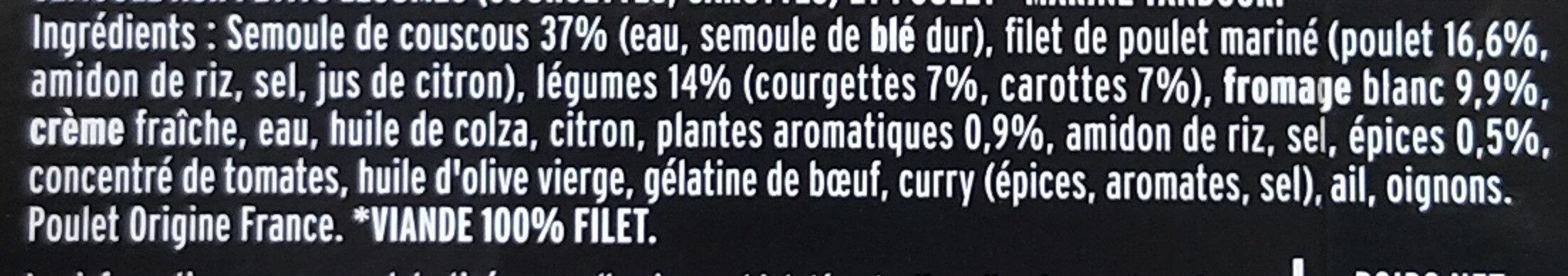 Le Poulet tandoori semoule aux petits légumes - Ingrédients - fr
