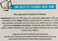 Filet de cabillaud riz & fondue de poireaux - Ingredients