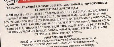 Poulet émincé penne et tomates cuisinées - Ingrédients - fr