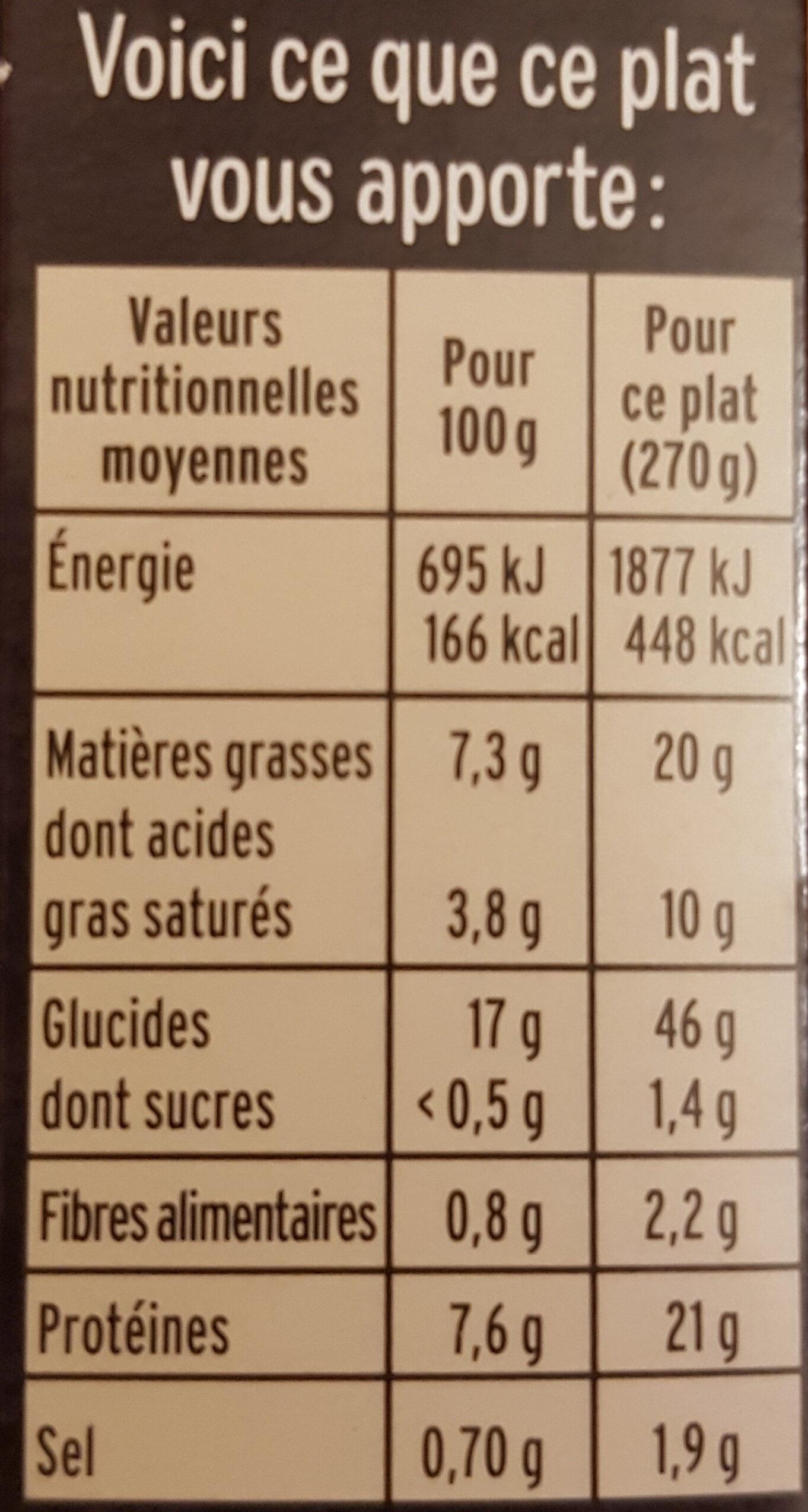 Les Saint-Jacques au Noilly et riz safrané - Nutrition facts - fr