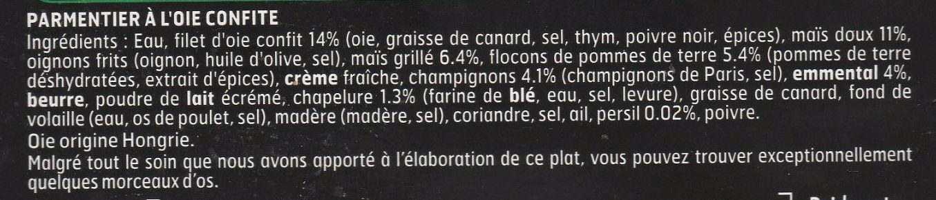 Le Parmentier Oie confite - Ingredients - fr