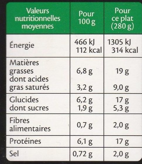 Le Parmentier Oie confite - Nutrition facts - fr