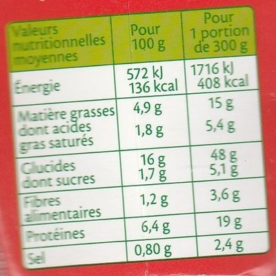 Box Spicy Chili - Informations nutritionnelles - fr