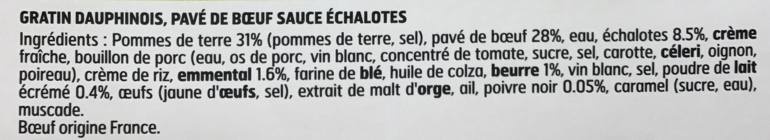 Pavé de boeuf sauce aux échalotes et gratin dauphinois - Ingredients