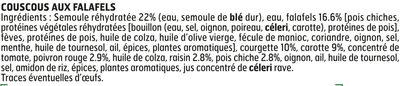 Couscous aux falafels - Ingrediënten