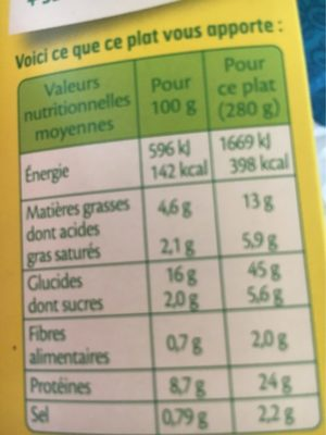 Macaroni au poulet sauce aux 3 fromages - Nutrition facts