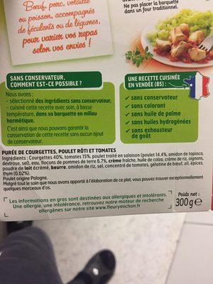 Poulet roti tomates puree de courgettes - Ingrédients - fr