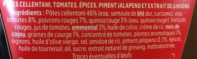 BOX ENERGY - pâtes cellentani, sauce tomate et épices, piment jalapeno et extrait de ginseng - Ingrédients