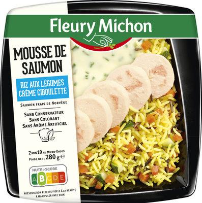 Mousse de Saumon, riz aux légumes, crème ciboulette - Product - fr