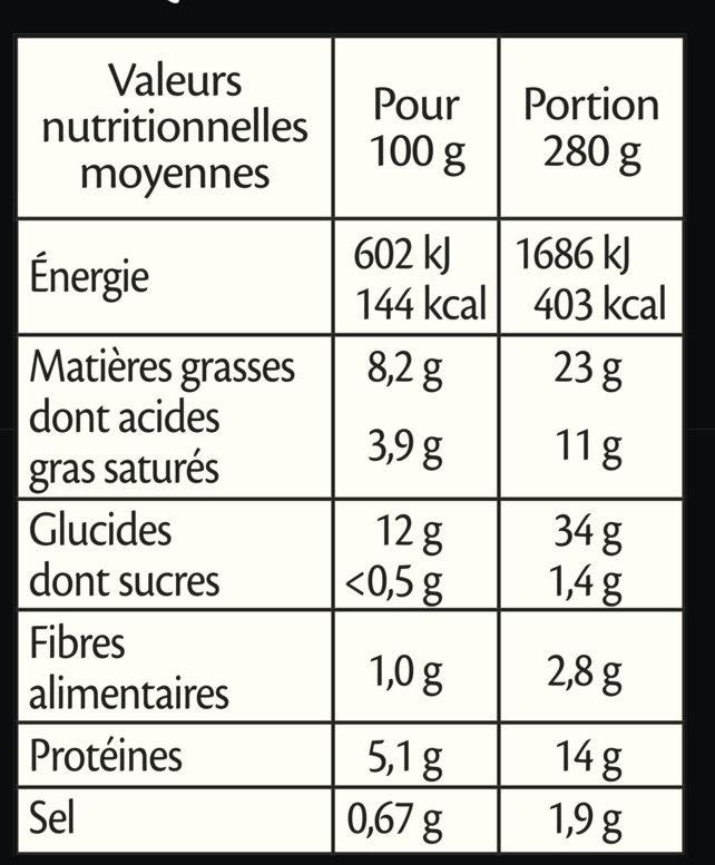Mousse de Saumon, riz aux légumes, crème ciboulette - Nutrition facts - fr