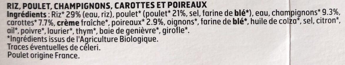 Blanquette de poulet & riz - Ingrédients - fr