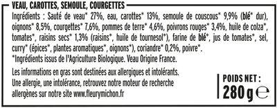 Tajine de veau aux légumes & semoule - Ingrédients