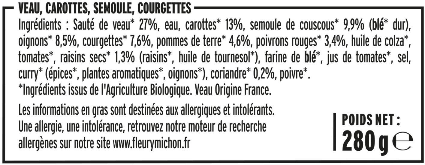 Tajine de veau aux légumes & semoule - Ingrédients - fr