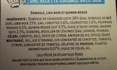 Tajine de lieu & quinoa rouge, semoule - Ingredients