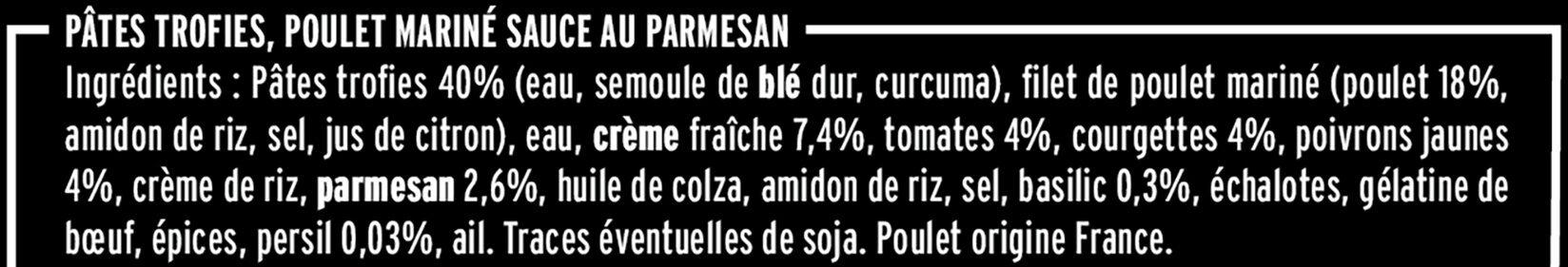 Poulet émincé & pâtes sauce parmesan - Ingredients