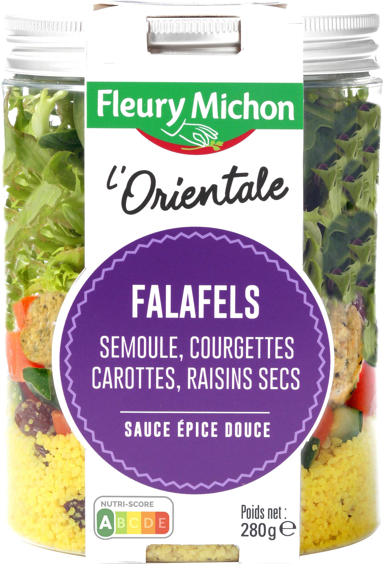 SALAD JAR - L'Orientale - Falafels, semoule, courgettes, carottes, raisins secs, sauce épice douce - Product - fr
