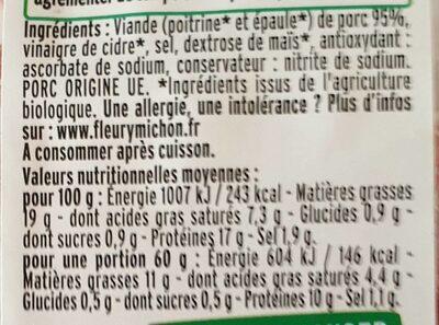 Allumettes fumees bio - Voedingswaarden - fr