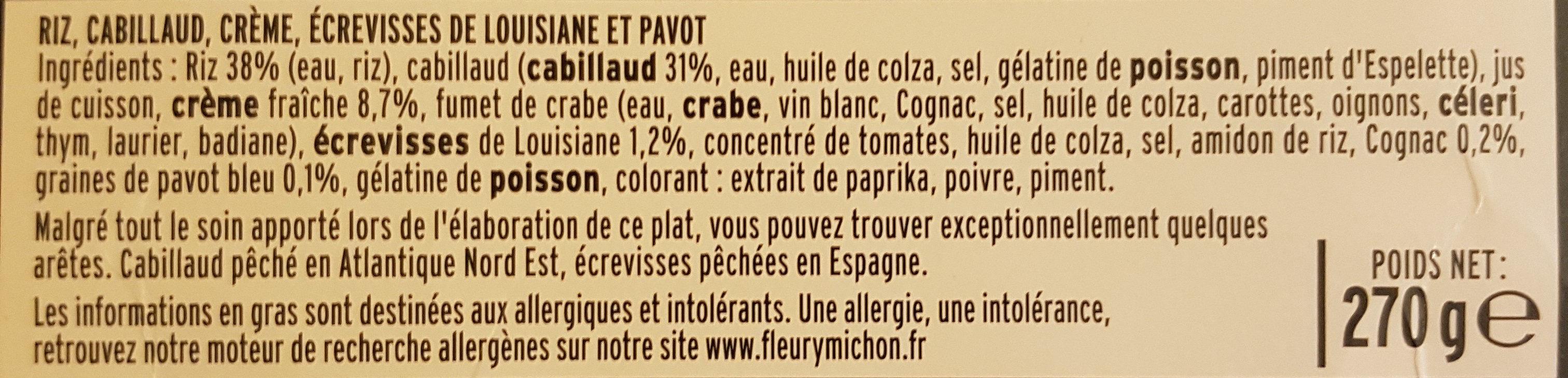 Cabillaud, crème d'écrevisses, riz au pavot - Ingredients - fr