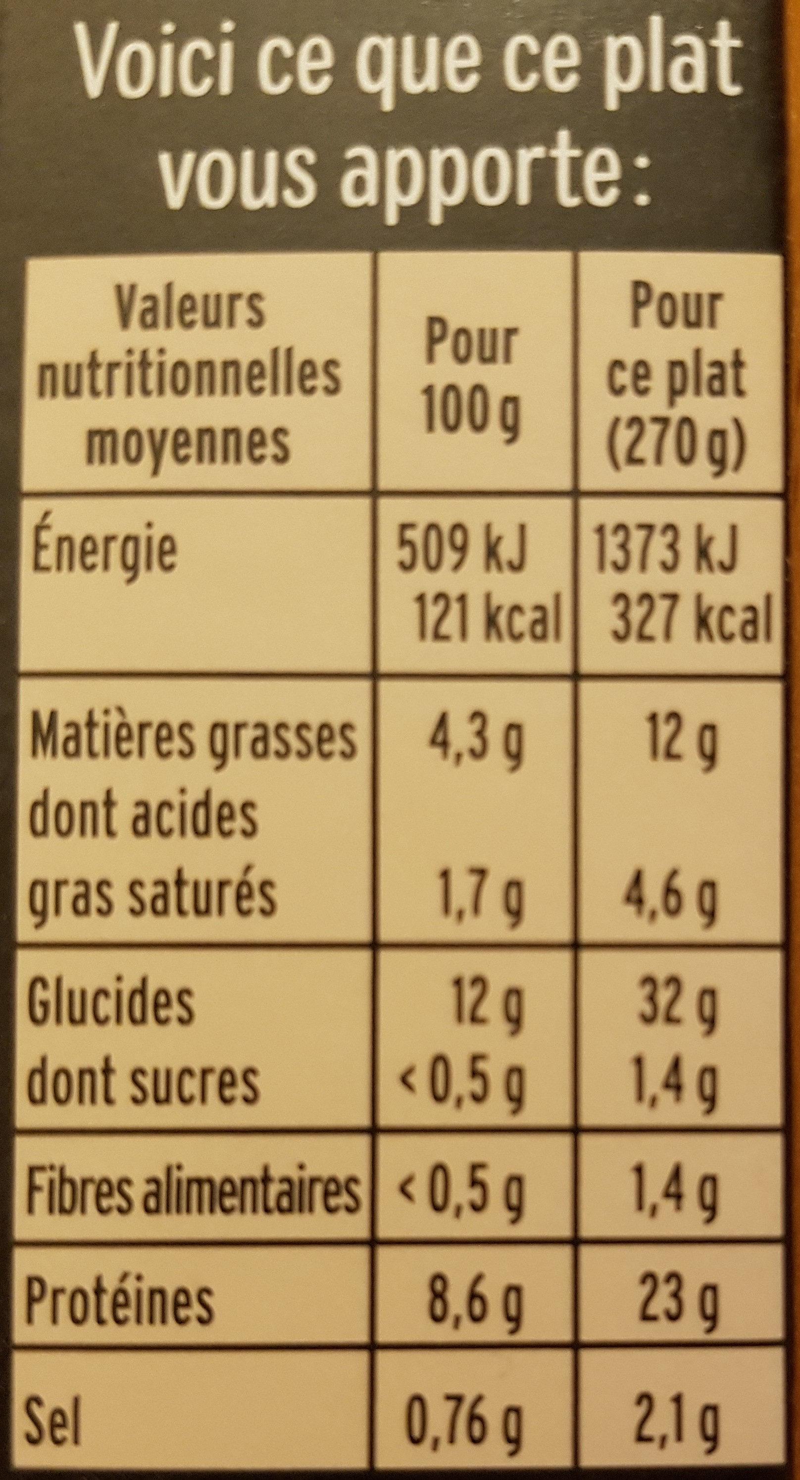 Cabillaud, crème d'écrevisses, riz au pavot - Nutrition facts - fr