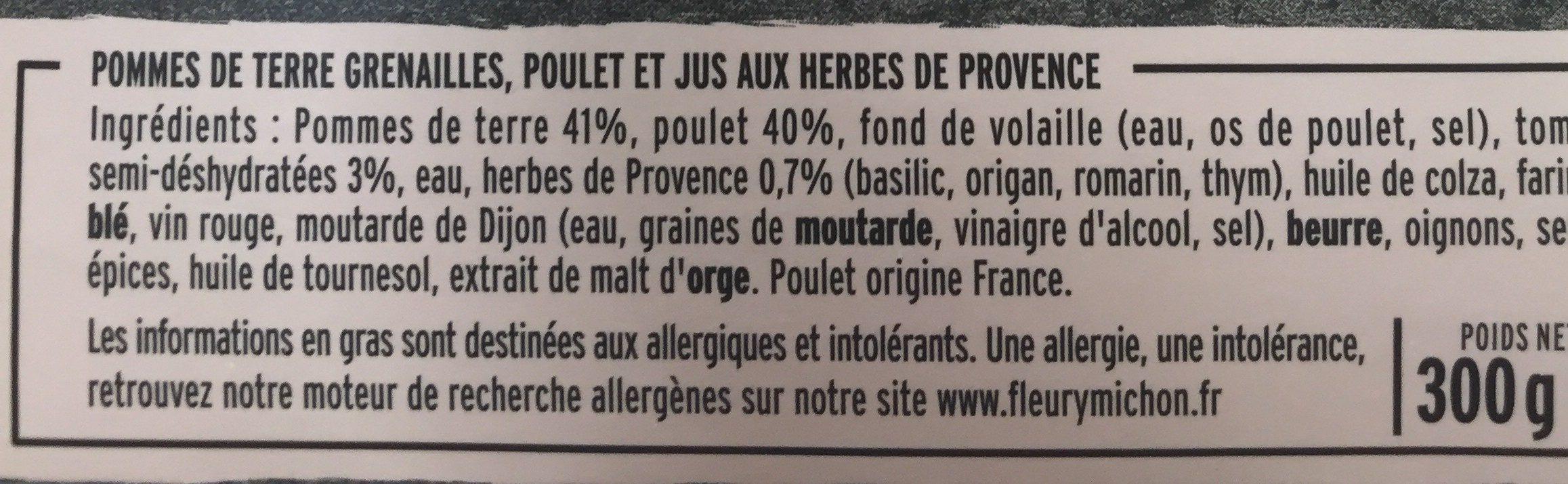 Poulet Rôti et Pommes de Terre Grenailles - Ingredients