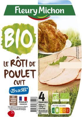 Le Rôti de poulet cuit -25% de sel*, Bio - 4 tranches - Product - fr