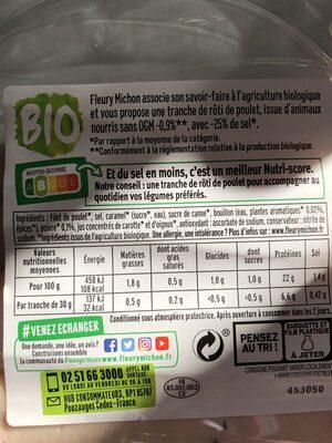 Le Rôti de poulet cuit -25% de sel*, Bio - 4 tranches - Nutrition facts - fr