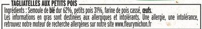 Tagliatelles aux petits pois - Ingrédients - fr