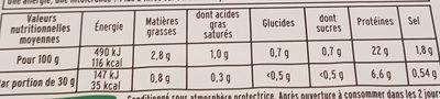 Le supérieur cuit à l'étouffée - tranches fines - 6tr - Informations nutritionnelles - fr