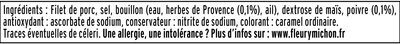 Rôti de porc cuit 100 % filet** -25% de sel*- 8 tr - Ingrediënten - fr