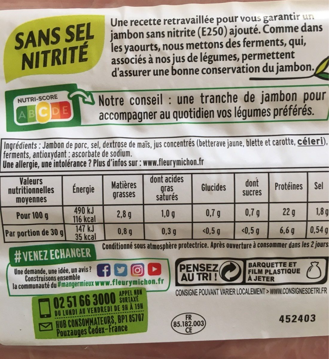 Le Paris sans couenne - 6tr - Ingrediënten - fr