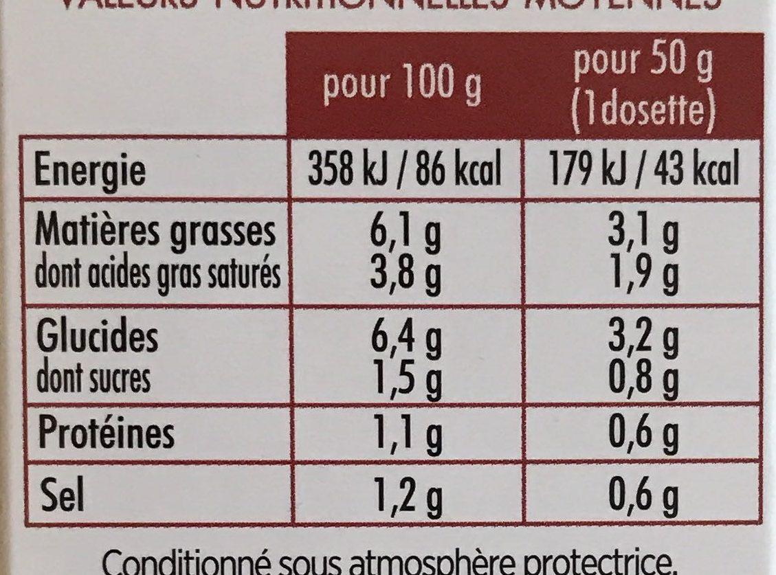 Sauce - Informations nutritionnelles