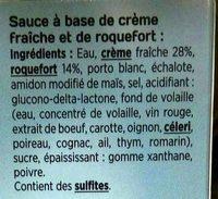 L'authentique Sauce n°4 roquefort - Ingrédients - fr