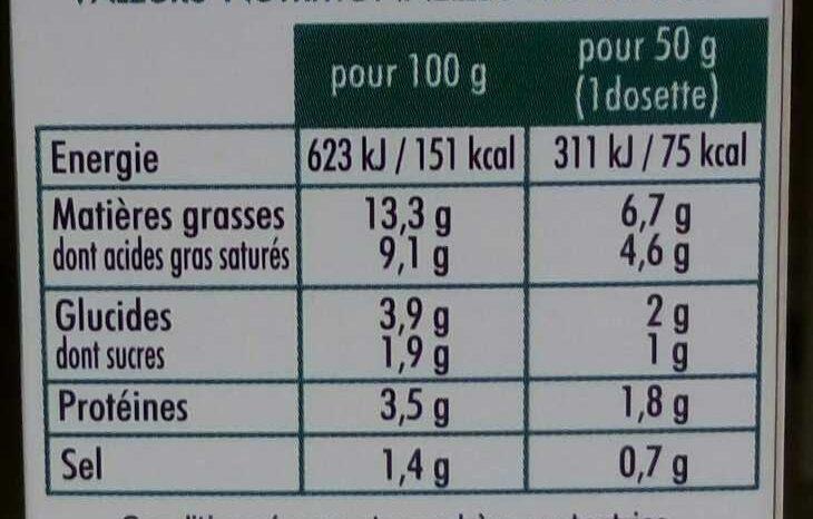 L'authentique Sauce n°4 roquefort - Informations nutritionnelles - fr