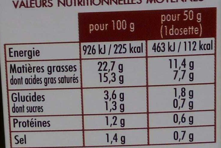 L'authentique Sauce N°9 hollandaise - Informations nutritionnelles - fr
