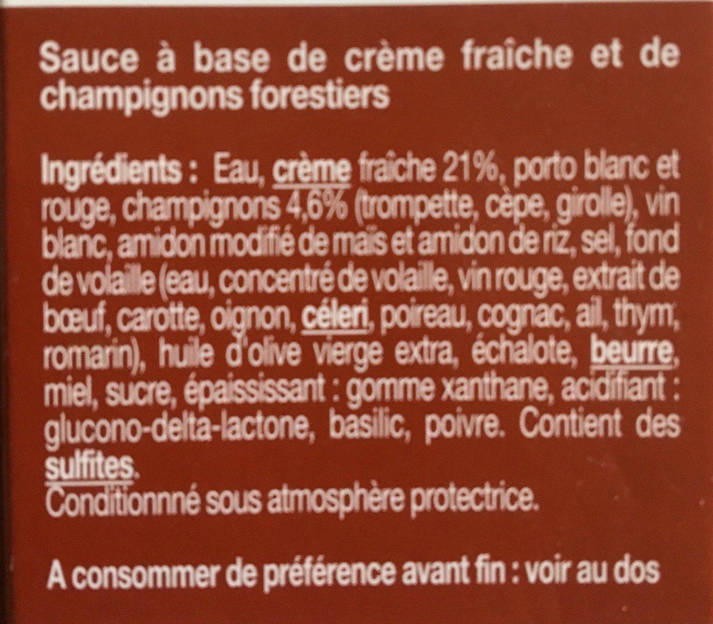 Sauce Forestière Christian Potier - Ingrédients